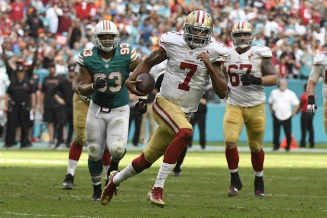 Colin Kaepernick almost led the 49ers to an upset win at Miami (AP)