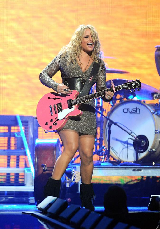 LAS VEGAS, NV - SEPTEMBER 21:  Singer Miranda Lambert performs onstage during the 2012 iHeartRadio Music Festival at the MGM Grand Garden Arena on September 21, 2012 in Las Vegas, Nevada.  (Photo by Isaac Brekken/Getty Images for Clear Channel)