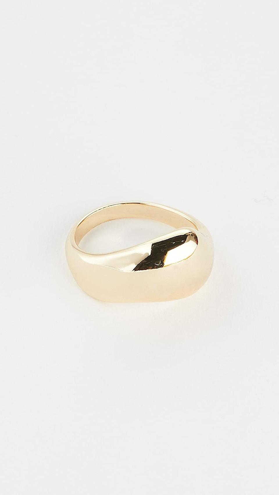 <p>This <span>SHASHI Liquid Metal Ring</span> ($55) will pop, whether you wear it alone or mix it with other rings.</p>