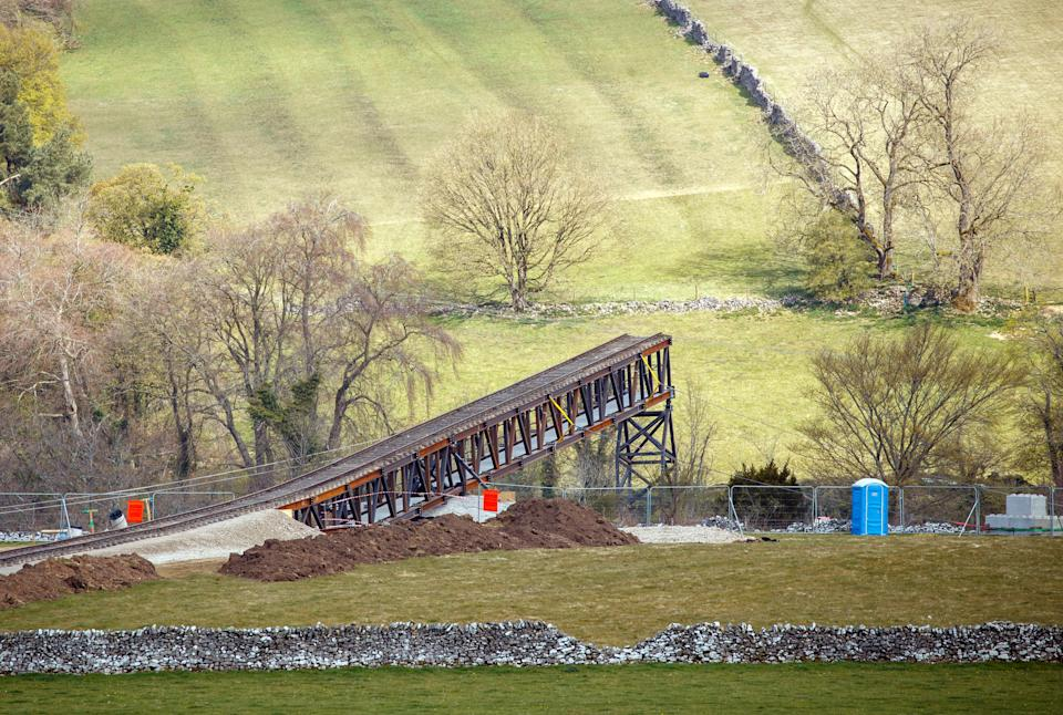 A train track at a quarry near Stoney Middleton in Derbyshire, that has been reported as a location for the latest Mission: Impossible film. Mission: Impossible star Tom Cruise has been filling action scenes on top of a moving mock steam locomotive in the North York Moors in recent days. Picture date: Sunday April 25, 2021.