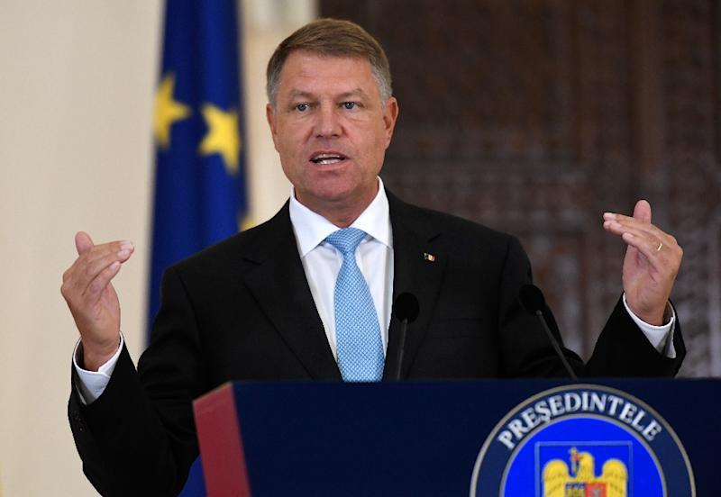 """Romanian President Klaus Iohannis, pictured in August 2017, intended to send a """"very strong signal"""" of disapproval at Ukraine's language bill by cancelling a planned visit to the country"""
