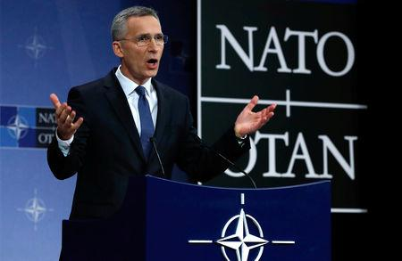NATO Secretary-General Jens Stoltenberg addresses a news conference at the Alliance headquarters in Brussels, Belgium, March 15, 2018. REUTERS/Yves Herman