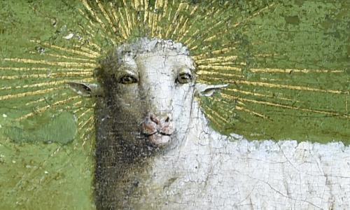 Why laugh at the humanoid sheep in the Ghent altarpiece? It is majestic