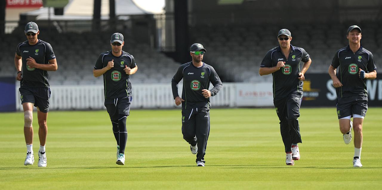 Australia players warm-up during the nets session at Lord's Cricket Ground, London.