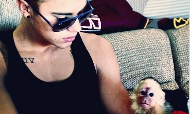 Justin Bieber and his monkey, in better times.