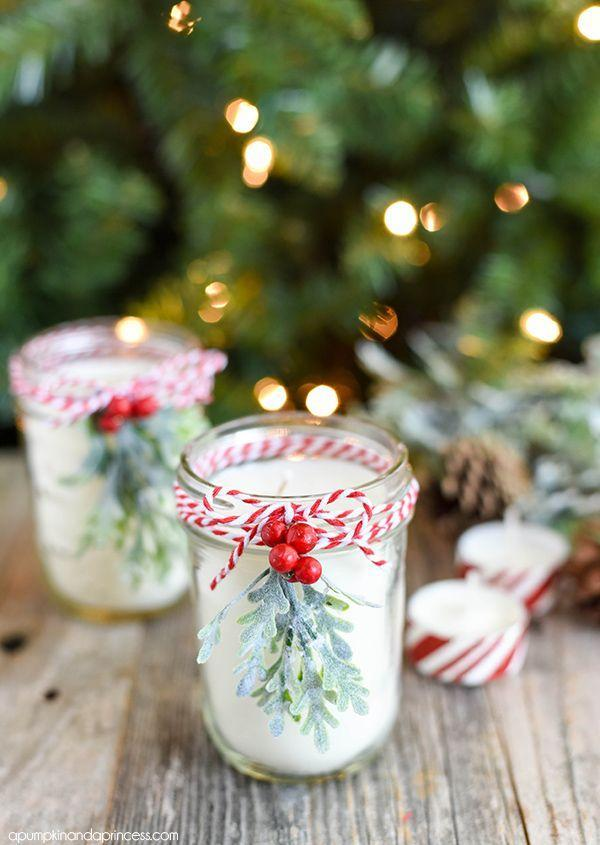 """<p>There is little lighting that's as warm and welcoming as candles, making them the perfect choice for Christmastime illumination. </p><p><strong>Get the tutorial at <a href=""""https://apumpkinandaprincess.com/diy-peppermint-mason-jar-candles/"""" rel=""""nofollow noopener"""" target=""""_blank"""" data-ylk=""""slk:A Pumpkin and a Princess"""" class=""""link rapid-noclick-resp"""">A Pumpkin and a Princess</a>.</strong></p><p><a class=""""link rapid-noclick-resp"""" href=""""https://www.amazon.com/CandleScience-All-Natural-Soy-Candle/dp/B07JZWS4Q9/ref=asc_df_B07JZWS4Q9/?tag=syn-yahoo-20&ascsubtag=%5Bartid%7C10050.g.2132%5Bsrc%7Cyahoo-us"""" rel=""""nofollow noopener"""" target=""""_blank"""" data-ylk=""""slk:SHOP SOY CANDLE WAX"""">SHOP SOY CANDLE WAX</a><br></p>"""