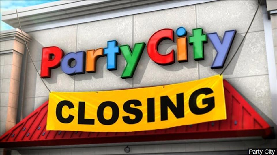 "Party City storefront with ""Closing"" sign"