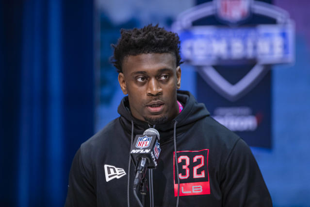 Patrick Queen was one of the leaders on LSU's national championship team, and he shined at the NFL scouting combine. (Photo by Michael Hickey/Getty Images)