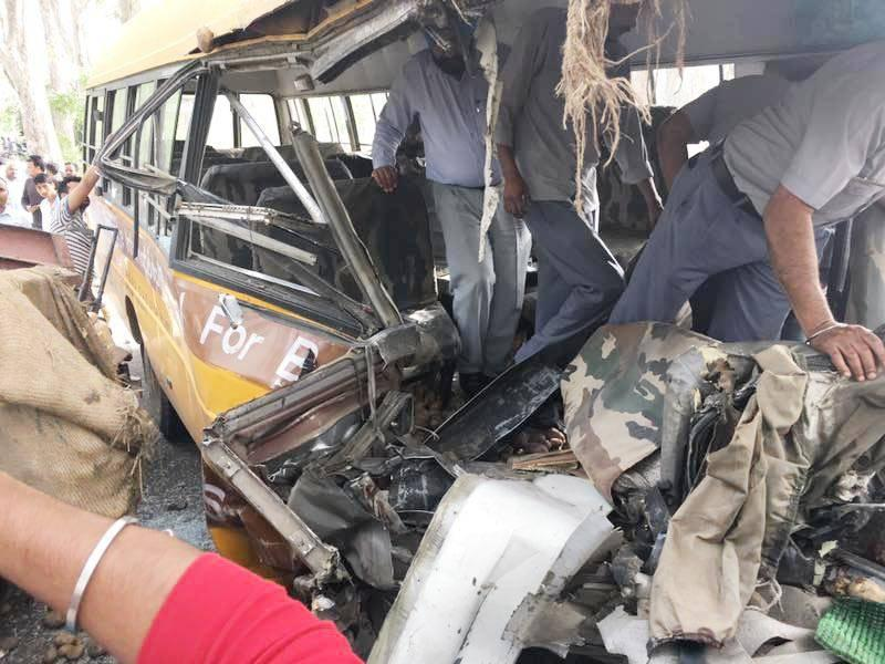 Three School Children, Bus Driver killed in Accident on Dasuya-Hazipur Road