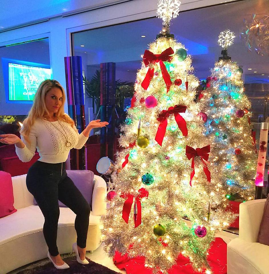 """<p>This silver tree is so Coco! Ice-T's better half proudly showed off her creation while he apparently was watching football: """"Our Xmas tree I put up all by myself..Very proud LOL."""" (Photo: <a rel=""""nofollow"""" href=""""https://www.instagram.com/p/BNPwt7hhqUb/"""">Instagram</a>) </p>"""