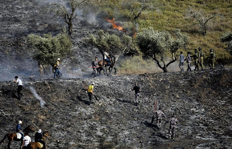 Palestinians try to put out fire in an olive grove near the West Bank village of Burin, near Nablus, Monday, June .3, 2013. Palestinian witnesses say Jewish settlers from Yitzhar settlement set fire to an olive grove. Palestinians say a fire has ripped through their lands in the northern West Bank, scorching several acres (hectares) of olive and almonds groves. Nimir Tirawi of the village of Burin says the fire began when hardline Jews from the nearby settlement of Yitzhar lit the blaze Monday. (AP Photo/Nasser Ishtayeh)