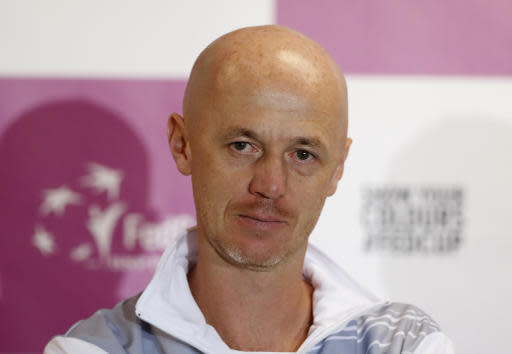 Czech Republic captain Petr Pala attends a press conference prior to the final match of the Fed Cup between Czech Republic and the US in Prague, Czech Republic, Wednesday, Nov. 7, 2018. (AP Photo/Petr David Josek)