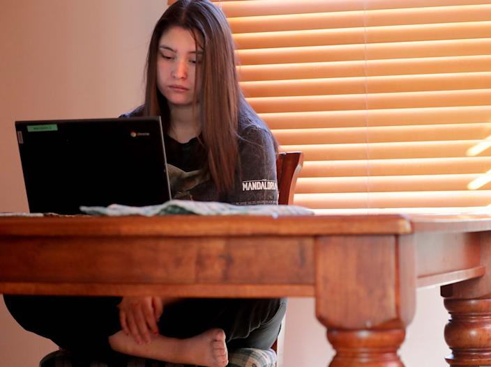 Ruby Rodriguez has live, virtual classes from about 9 until noon most days, but she has to set a structure for herself after that to study. She sometimes misses turning in assignments.