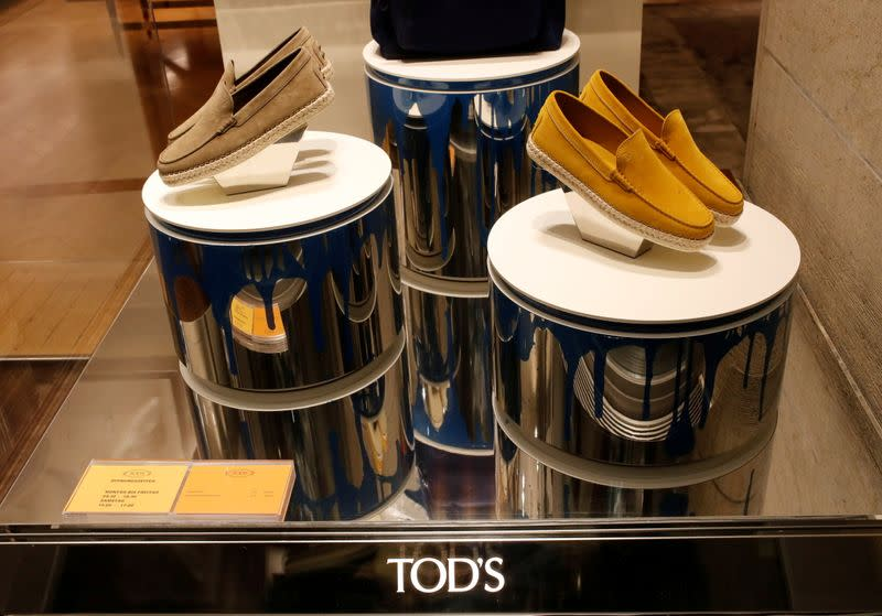 FILE PHOTO: Shoes of Italian luxury shoemaker Tod's are displayed in the window of the company's store in Zurich