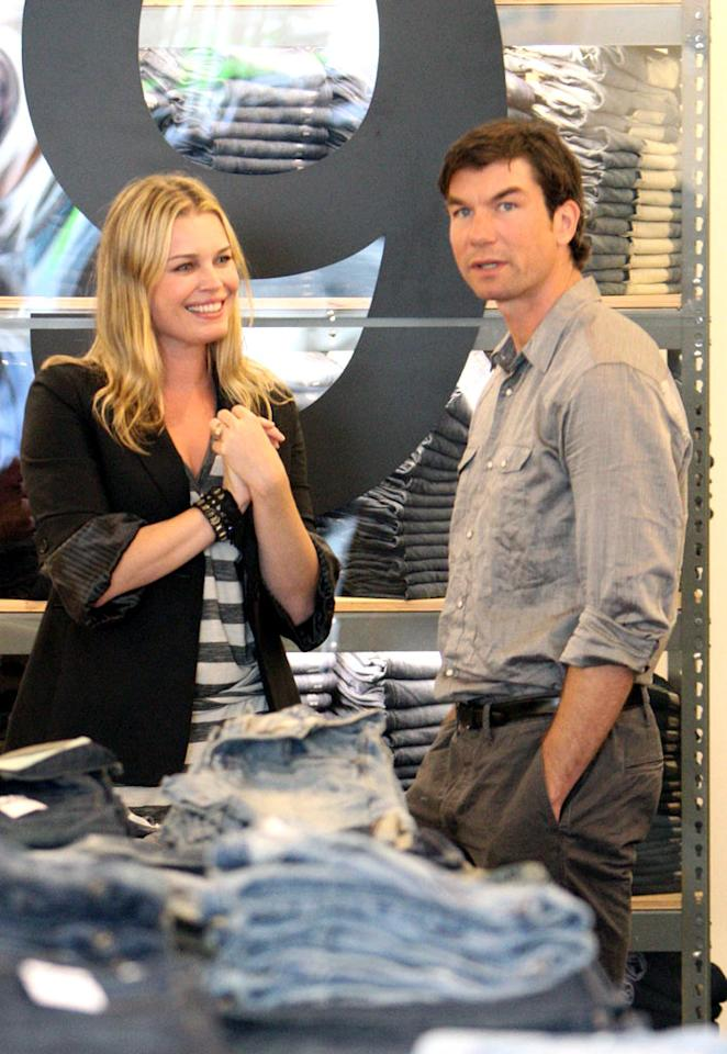 """Rebecca Romijn and hubby Jerry O'Connell peruse the racks at the grand opening of the new Gap 1969 Jeans store on trendy Robertson Boulevard in LA. <a href=""""http://www.infdaily.com"""" target=""""new"""">INFDaily.com</a> - February 24, 2010"""