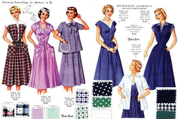 <p>Shirtdresses and wrap styles also became popular. A wraparound cut allowed the dress to grow with a woman's changing body, while the button-down silhouettes provided an easier solution for breastfeeding mothers.</p>