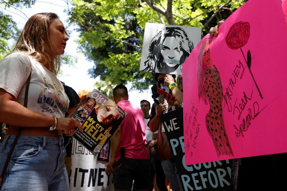 Britney Spears fans protest in support of the pop star on the day of a conservatorship case hearing at Stanley Mosk courthouse.