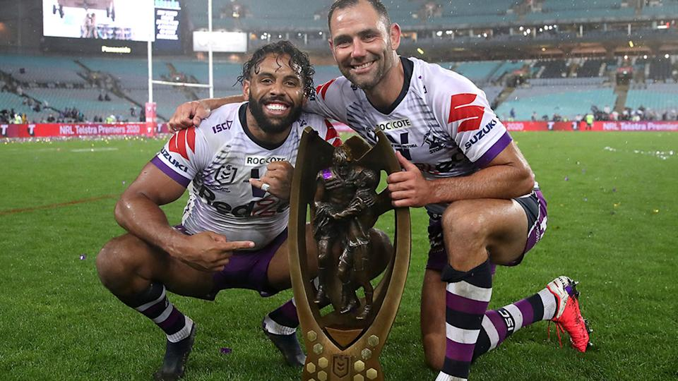 Josh Addo-Carr and Cameron Smith, pictured here after the 2020 NRL Grand Final.