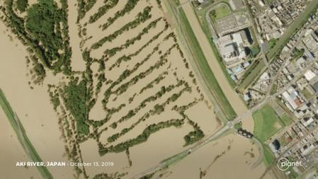 Satellite image shows the flooded Aki River in the aftermath of Typhoon Hagibis in Japan
