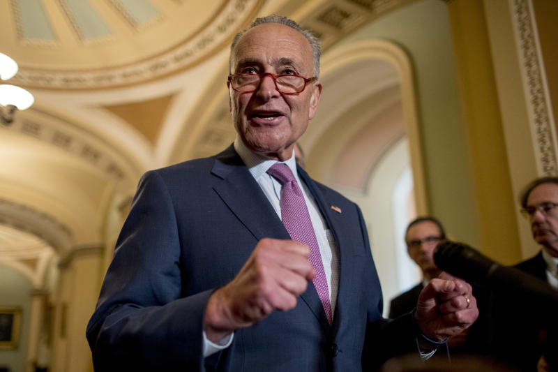 Senate Minority Leader Sen. Chuck Schumer of N.Y., speaks at a news conference following a Senate policy luncheon on Capitol Hill, Tuesday, Sept. 10, 2019, in Washington. (AP Photo/Andrew Harnik)