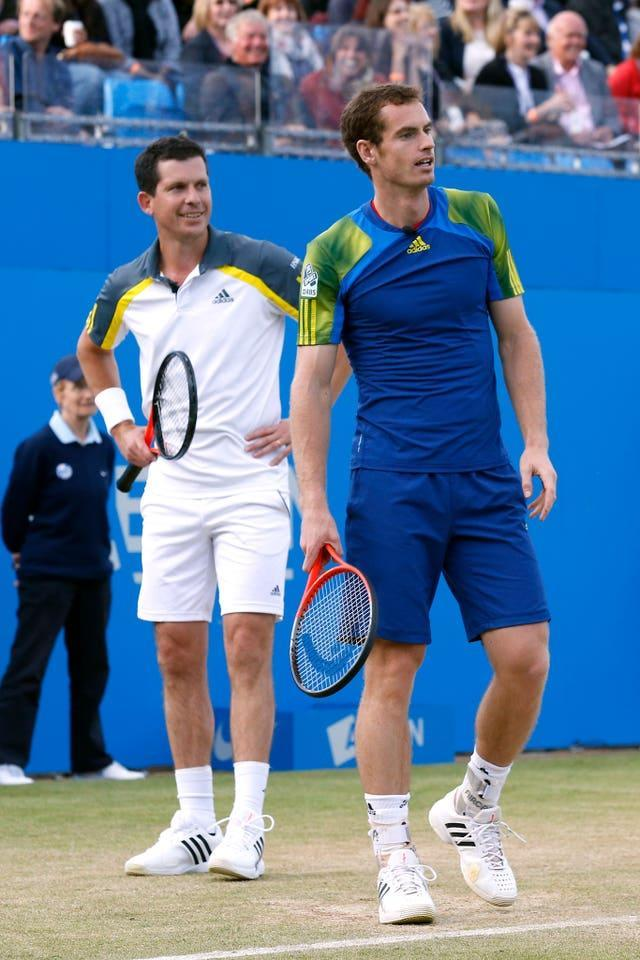 Tim Henman, left, is encouraged by Andy Murray's progress