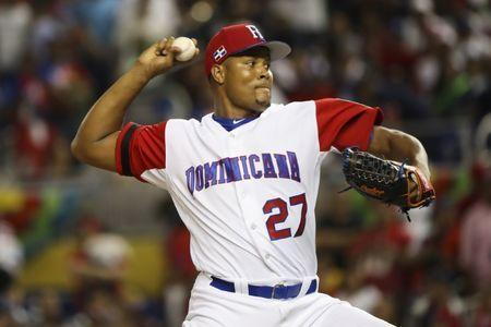Mar 9, 2017; Miami, FL, USA; Dominican Republic pitcher Jeurys Familia (27) throws a pitch in the eighth inning against Canada during the 2017 World Baseball Classic at Marlins Park. Dominican Republic won 9-2. Mandatory Credit: Logan Bowles-USA TODAY Sports