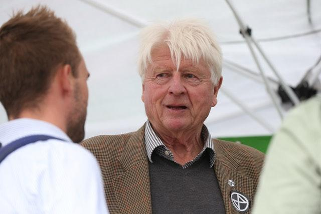 Stanley Johnson - father of Prime Minister Boris Johnson - wearing an Extinction Rebellion badge, joined protesters in Trafalgar Square