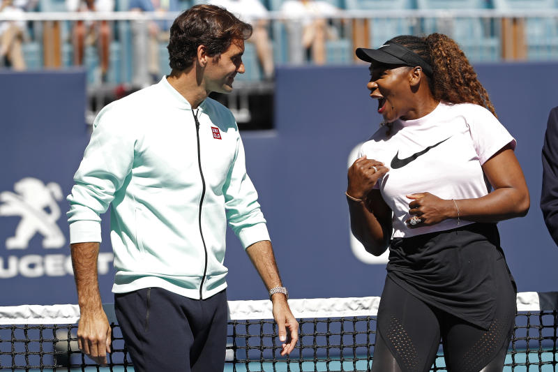 Roger Federer and Serena Williams earlier this year. (Reuters)