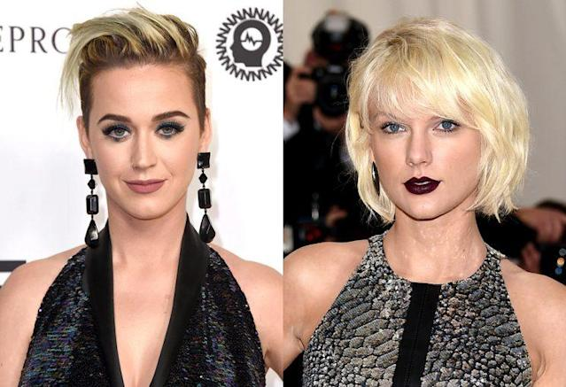 "Katy Perry was asked about her ""Bad Blood"" with Taylor Swift. (Photos: Getty Images, AP Images)"