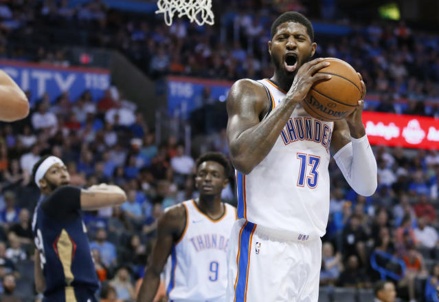 Paul George is ready for the challenge of elevating his game and the Thunder. (AP Photo/Sue Ogrocki)