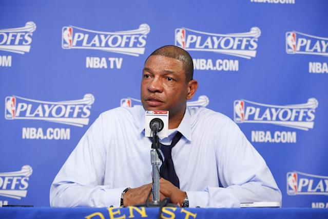 OAKLAND, CA - APRIL 27: Head coach Doc Rivers of the Los Angeles Clippers speaks to the press after facing the Golden State Warriors in Game Four of the Western Conference Quarterfinals during the 2014 NBA Playoffs at Oracle Arena on April 27, 2014 in Oakland, California. (Photo by Rocky Widner/NBAE via Getty Images)