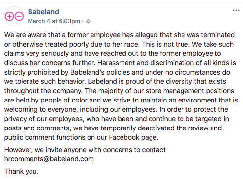 Official statement from Babeland regarding the termination of Takeallah Rivera. (Photo: Facebook/Babeland)