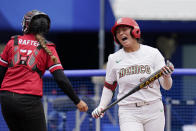 Mexico's Amanda Sanchez reacts after hitting a foul ball during a softball game against Canada at the 2020 Summer Olympics, Tuesday, July 27, 2021, in Yokohama, Japan (AP Photo/Sue Ogrocki)