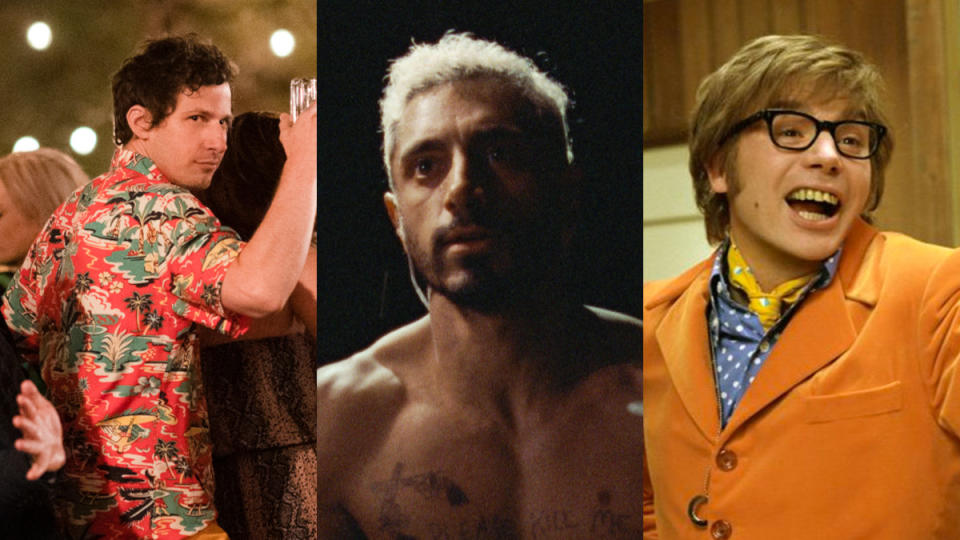 'Palm Springs', 'Sound of Metal' and 'Austin Powers in Goldmember'. (Credit: Amazon/New Line Cinema)