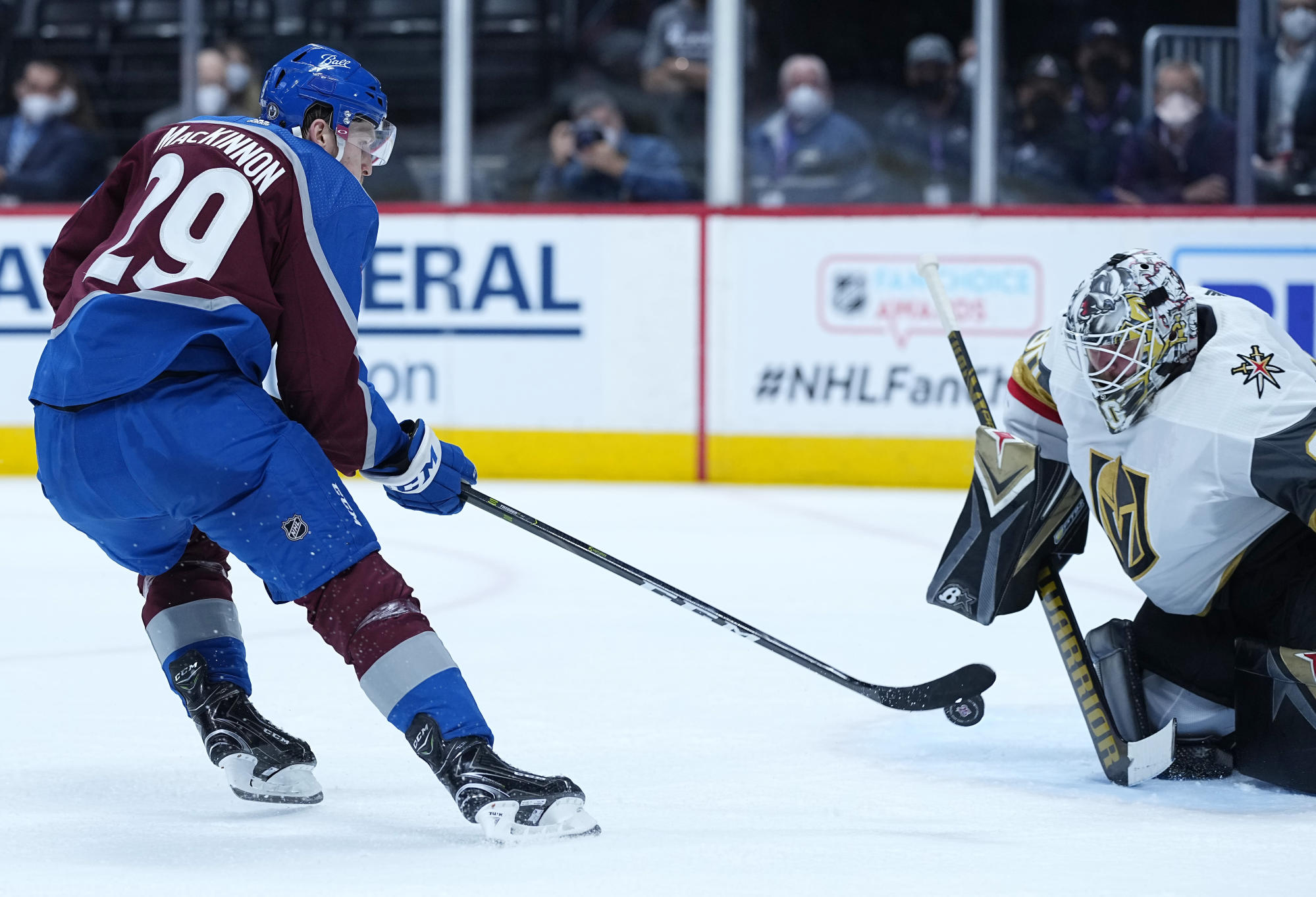Avalanche blaze past Knights 7-1 in penalty-filled Game 1