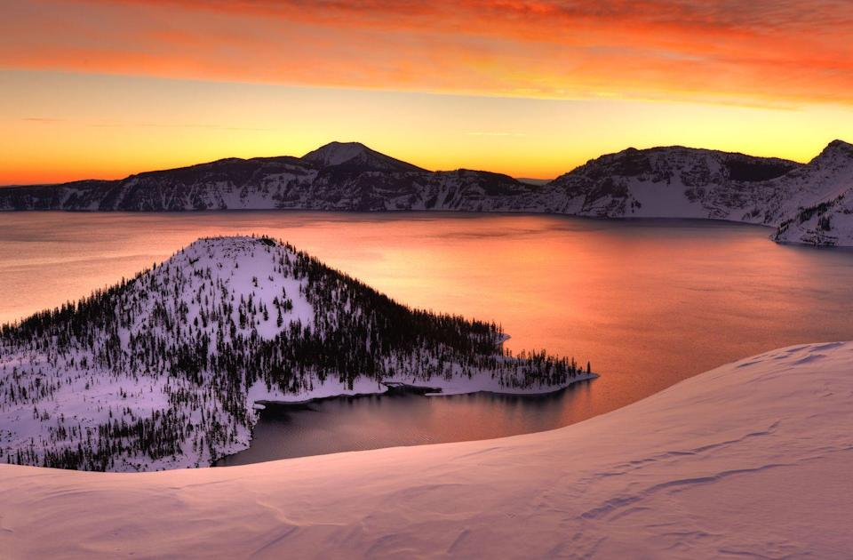 <p>You'll need some snowshoes to visit Crater Lake in the winter, but for a view like this it's worth it. </p>