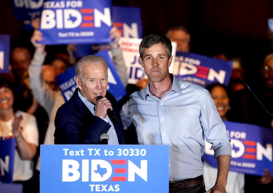 Former 2020 U.S. Democratic presidential candidate Rep. Beto O'Rourke endorses former Vice President and Democratic 2020 U.S. presidential candidate Joe Biden for president at a campaign event at Gilley's in Dallas, Texas on March 2, 2020. (Eric Thayer/Reuters)