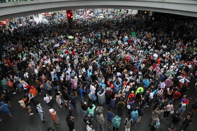 People gather during anti-government protests, in Bangkok