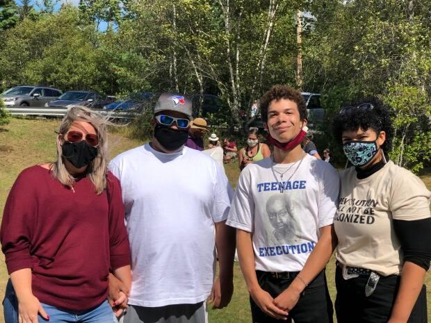 (Left to right) Cyndi Rafuse, Greg Dean, Peter Fisk, and Lauryn Guest attend a Black Lives Matter picnic in Chester, N.S., last August at the same beach where Dean said his family was threatened with a noose.