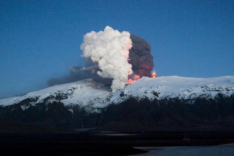 Scientists believe an eruption by Katla would be three times worse than Eyjafjallajokull, which lasted masses of hot ash into the air disrupting air travel across Europe. (AFP/Getty Images)