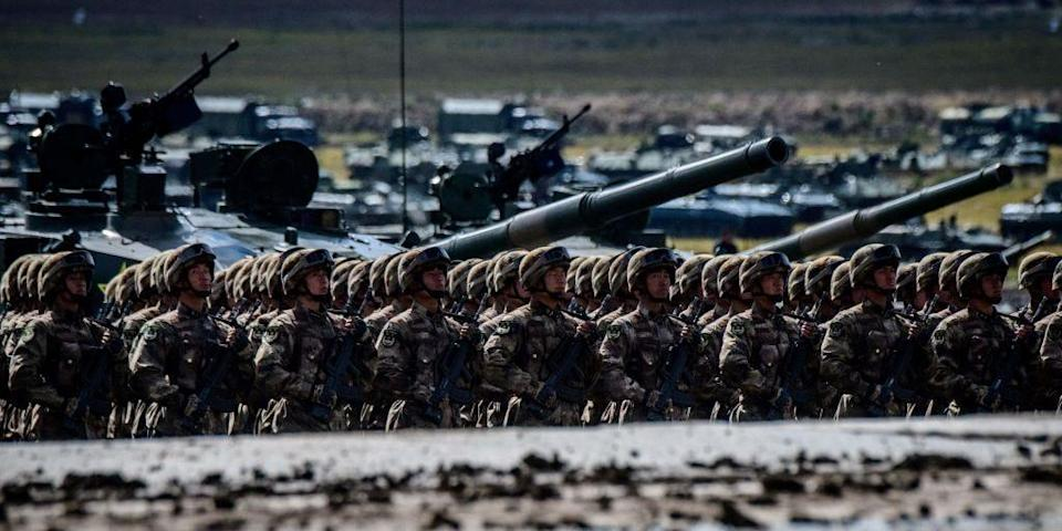 Chinese troops parade at the end of the day of the Vostok-2018 (East-2018) military drills at Tsugol training ground not far from the borders with China and Mongolia in Siberia, on September 13, 2018