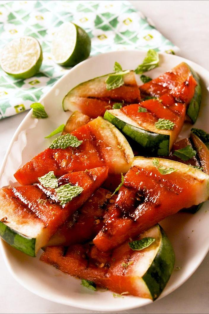 """<p>Something sweet to add to all the savory!</p><p>Get the recipe from <a href=""""https://www.delish.com/cooking/recipe-ideas/a27184567/grilled-watermelon-recipe/"""" rel=""""nofollow noopener"""" target=""""_blank"""" data-ylk=""""slk:Delish"""" class=""""link rapid-noclick-resp"""">Delish</a>.</p>"""