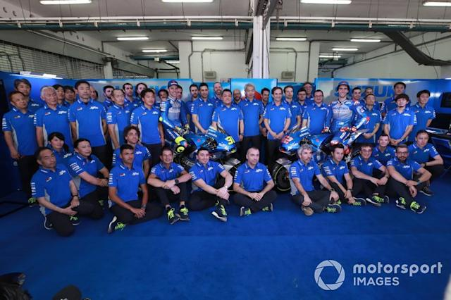 "Joan Mir, Team Suzuki MotoGP, Alex Rins, Team Suzuki MotoGP, Suzuki team, Presentazione <span class=""copyright"">Gold and Goose / Motorsport Images</span>"
