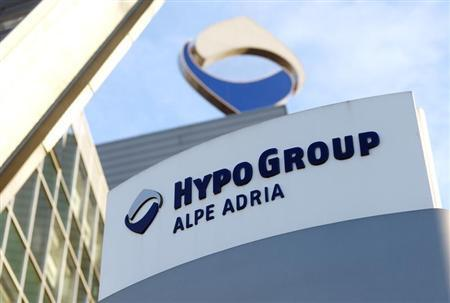 The logo of nationalised Hypo Alpe Adria is pictured at the bank's headquarters in Klagenfurt