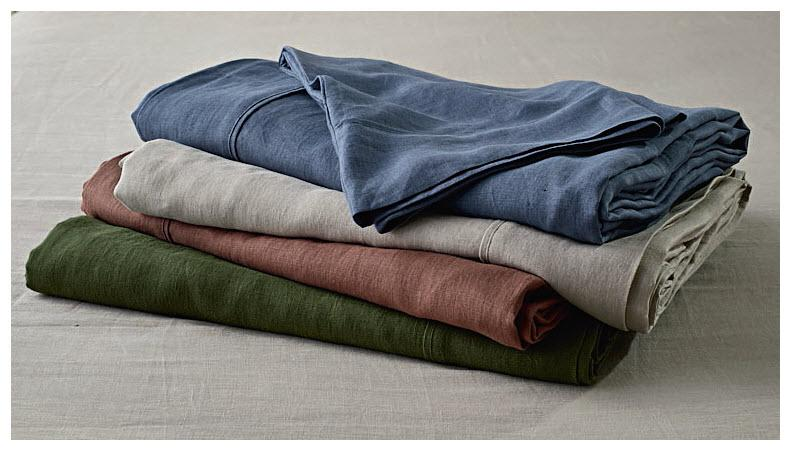 The 100 per cent hemp sheet sets come in four on-trend hues. Photo: Aldi.