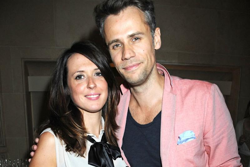 Touching tribute: Richard Bacon with his wife Rebecca: Richard Young/Rex