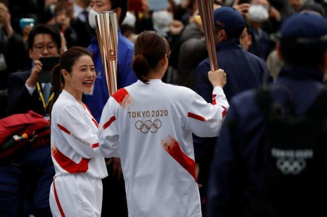 Rehearsal of part of the Tokyo 2020 Olympic Torch Relay in Hamura