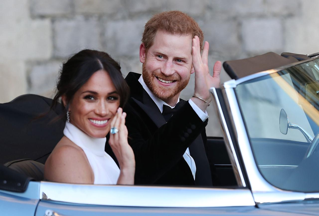 """Their big day including an <a rel=""""nofollow"""" href=""""https://people.com/royals/prince-harry-meghan-markle-royal-wedding-reception/"""">evening reception</a>, which the newlyweds headed to in style: after an <a rel=""""nofollow"""" href=""""https://people.com/royals/prince-harry-meghan-markle-frogmore-house-evening-reception/"""">outfit change</a>, they drove off in a blue Jaguar."""