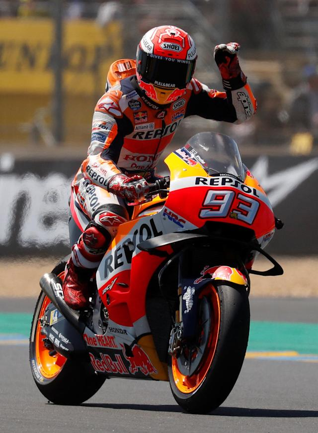 Motorcycling - MotoGP - French Grand Prix - Bugatti Circuit, Le Mans, France - May 19, 2018 Honda's Marc Marquez celebrates after qualifying REUTERS/Gonzalo Fuentes
