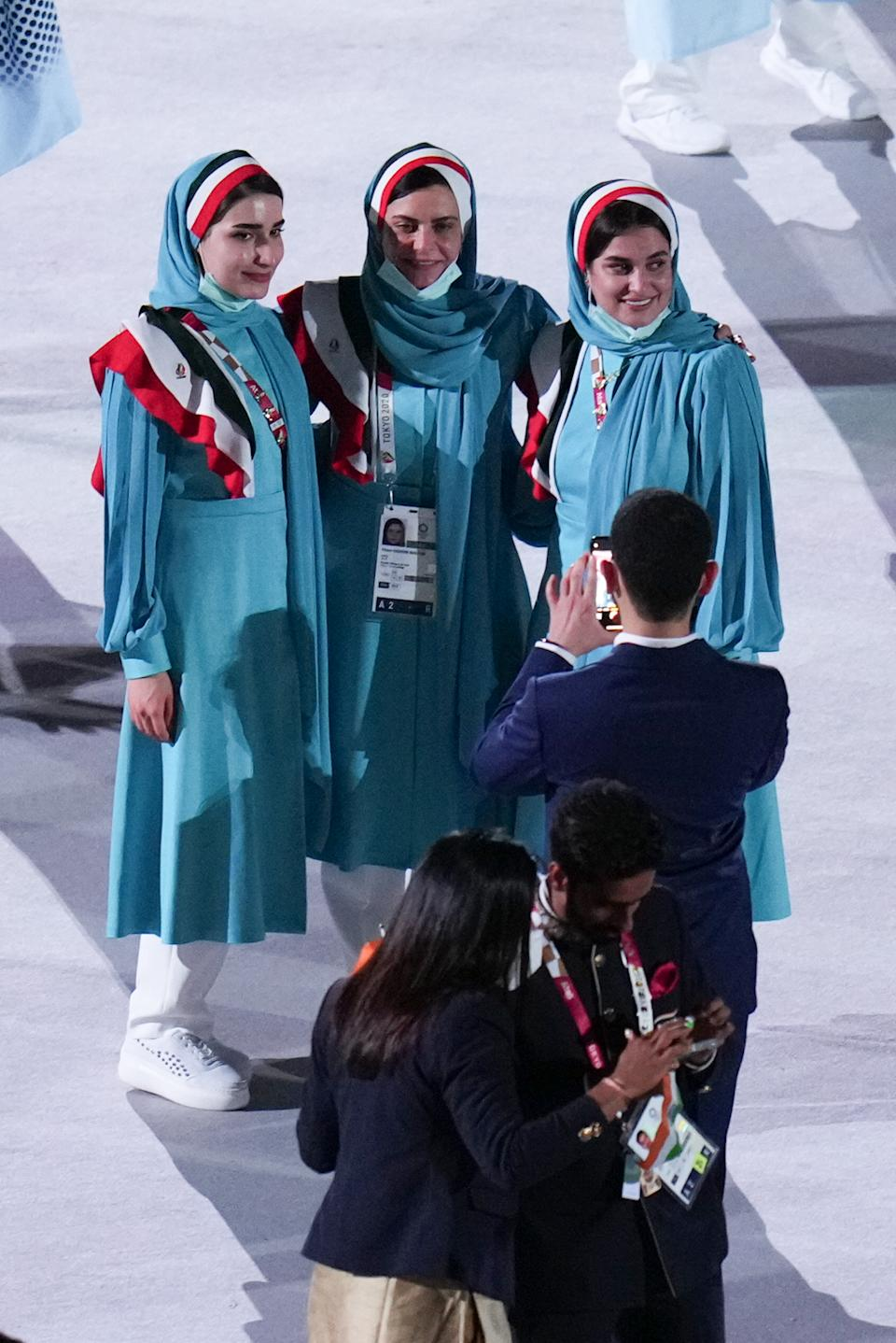 TOKYO, JAPAN - JULY 23: Athletes of Team Iran take part in the Parade of Nations during the Opening Ceremony of the Tokyo 2020 Olympic Games at Olympic Stadium on July 23, 2021 in Tokyo, Japan. (Photo by An Lingjun/CHINASPORTS/VCG via Getty Images)